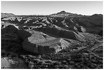 Aerial view of riparian area and hills, Afton Canyon. Mojave Trails National Monument, California, USA ( black and white)