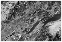 Aerial view of Mojave River looking down, Afton Canyon. Mojave Trails National Monument, California, USA ( black and white)