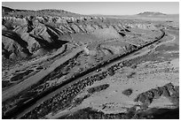 Aerial view of train in Afton Canyon. Mojave Trails National Monument, California, USA ( black and white)