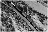 Aerial view of train looking down. Mojave Trails National Monument, California, USA ( black and white)