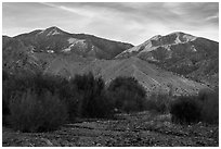 San Gorgonio Mountain from Whitewater Preserve, sunset. Sand to Snow National Monument, California, USA ( black and white)