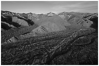Aerial view of valley with San Gorgonio Mountain in the distance, Mission Creek Preserve. Sand to Snow National Monument, California, USA ( black and white)