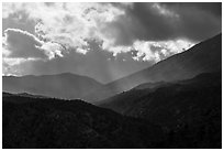 Showers and clouds over Santa Rosa Mountains. Santa Rosa and San Jacinto Mountains National Monument, California, USA ( black and white)