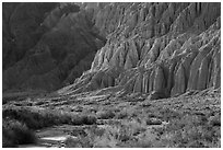 Flutted canyon walls, Afton Canyon. Mojave Trails National Monument, California, USA ( black and white)