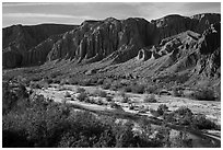 Afton Canyon of the Mojave River. Mojave Trails National Monument, California, USA ( black and white)