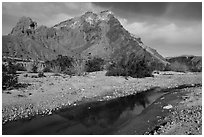 Colorful cliffs rise above the Mojave River in Afton Canyon. Mojave Trails National Monument, California, USA ( black and white)