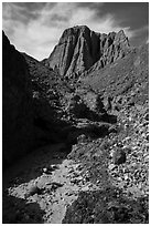 Desert wash and eroded badlands, Afton Canyon. Mojave Trails National Monument, California, USA ( black and white)