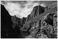 Conglomerate rock canyon and cliffs, Afton Canyon. Mojave Trails National Monument, California, USA ( black and white)