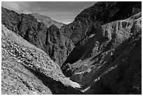 Narrow side canyon, Afton Canyon. Mojave Trails National Monument, California, USA ( black and white)