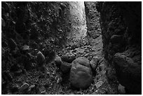 Conglomerate rock slot canyon, Afton Canyon. Mojave Trails National Monument, California, USA ( black and white)