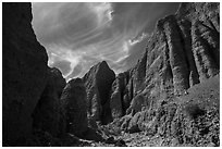 Steep eroded canyon in badlands, Afton Canyon. Mojave Trails National Monument, California, USA ( black and white)