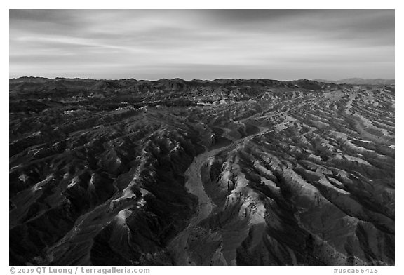 Aerial view of Afton Canyon badlands at sunrise. Mojave Trails National Monument, California, USA (black and white)