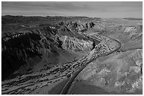 Aerial view of Afton Canyon. Mojave Trails National Monument, California, USA ( black and white)