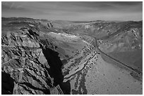 Aerial view of cliffs and Afton Canyon. Mojave Trails National Monument, California, USA ( black and white)