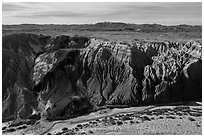 Aerial view of Afton Canyon walls. Mojave Trails National Monument, California, USA ( black and white)