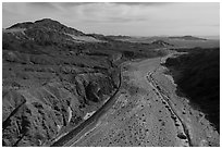 Aerial view of Afton Canyon, railroad, and Mojave River. Mojave Trails National Monument, California, USA ( black and white)