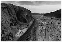 Aerial view of Afton Canyon, rail tracks and roads. Mojave Trails National Monument, California, USA ( black and white)