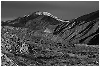 San Giorgono Mountains from Mission Creek valley. Sand to Snow National Monument, California, USA ( black and white)