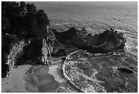 McWay Cove and waterfall, Julia Pfeiffer Burns State Park. Big Sur, California, USA ( black and white)