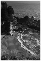 Cove and McWay waterfall dropping on beach, Julia Pfeiffer Burns State Park. Big Sur, California, USA ( black and white)