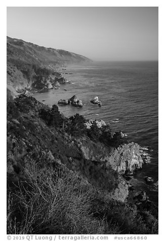 Costline from Partington Point at sunset, Julia Pfeiffer Burns State Park. Big Sur, California, USA (black and white)