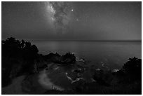 McWay Cove at night with Milky Way, Julia Pfeiffer Burns State Park. Big Sur, California, USA ( black and white)