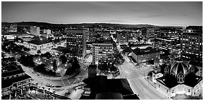 Downtown San Jose skyline and lights at dusk. San Jose, California, USA (Panoramic black and white)
