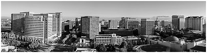San Jose skyline from Adobe building to Fairmont hotel. San Jose, California, USA (Panoramic black and white)
