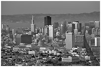Skyline from Twin Peaks, sunset. San Francisco, California, USA ( black and white)