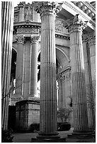 Columns of the Palace of Fine arts. San Francisco, California, USA (black and white)