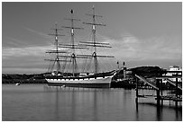 The Balclutha at sunset. San Francisco, California, USA (black and white)