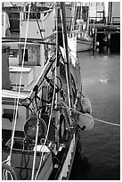 Fishing boat anchored in  Fisherman's Wharf. San Francisco, California, USA (black and white)