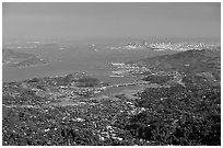 San Francisco and the Bay Area seen from Mt Tamalpais. California, USA ( black and white)