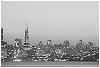 Skyline at sunset with the Transamerica Pyramid. San Francisco, California, USA (black and white)