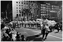 Dragon dancing during the Chinese New Year celebration, Union Square. San Francisco, California, USA (black and white)