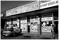 Mexican storefronts. Redwood City,  California, USA (black and white)