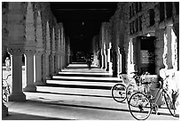 Hallway and bicycles. Stanford University, California, USA (black and white)