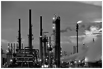 Pipes of San Francisco Refinery, Rodeo. San Pablo Bay, California, USA (black and white)