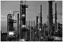 Pipes of Phillips 66 Oil Refinery, Rodeo. San Pablo Bay, California, USA (black and white)