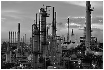 Chimneys of industrial Oil Refinery, Rodeo. San Pablo Bay, California, USA (black and white)