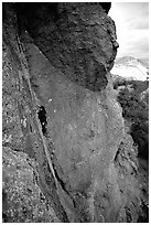 Rock climber. Pinnacles National Park, California, USA. (black and white)