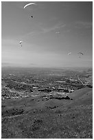Paragliders, Mission Peak Regional Park. California, USA ( black and white)