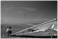 Hand-glider,  Mission Peak Regional Park. California, USA (black and white)
