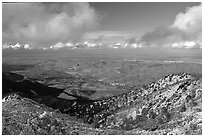 Looking towards the delta from the summit after a snow storm, Mt Diablo State Park. California, USA ( black and white)