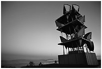 Microwave communication relay at dusk,  Mt Diablo State Park. California, USA ( black and white)