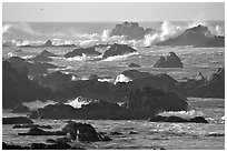 Surf and rocks, Ocean drive, Carmel. Pacific Grove, California, USA (black and white)