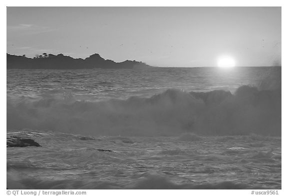 Crashing surf and sunset,  Carmel River State Beach. Carmel-by-the-Sea, California, USA (black and white)