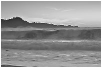 Surf at  sunset,  Carmel River State Beach. Carmel-by-the-Sea, California, USA ( black and white)