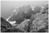 Pinnacle Cove with fog. Point Lobos State Preserve, California, USA (black and white)