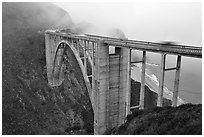 Bixby Creek Bridge in fog. Big Sur, California, USA (black and white)